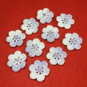 受注制作 ️レース編み作品/お花のミニモチーフ 10個セット〜ラベンダー〜