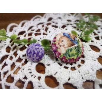 ウサギと花のくるみボタン♪送料込み