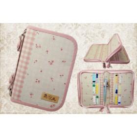 母子手帳ケース M 4人分収納 Wファスナー 小花柄 ピンク(B6サイズ用)