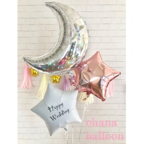 M-S2 バルーン 結婚式 ウェディング 誕生日 開店祝い 周年祝い 出産祝い フリンジバルーン タッセル バルーン電報 バルーンギフト 文字入りバルーン 三日月 星