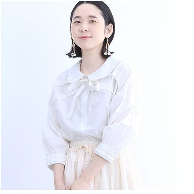 [マルイ]【セール】リボン付きスカラップ襟ブラウス7427-0302/メルロー(merlot)