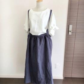 サスペンダー付きスカート☆ミックスグレー☆リネン
