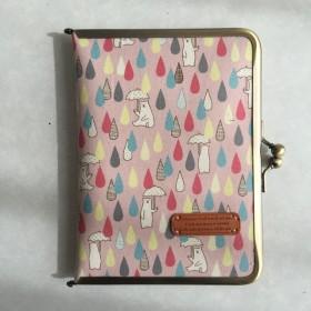 母子手帳ケース コンパクト がま口 レイン 白くま ピンク