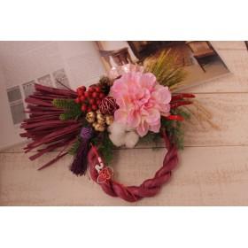 しめ縄飾り 横型 パープル&ピンク