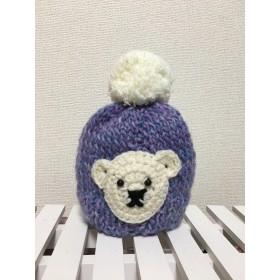 baby〜kids ︎白くまニット帽子 パープル