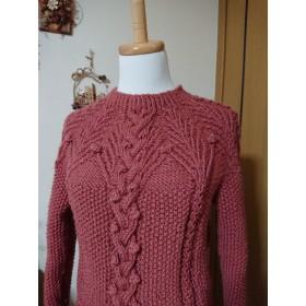 アラン編みのプルオーバー オールドピンク色
