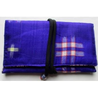 送料無料 銘仙の着物で作った和風財布・ポーチ 3909