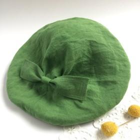 リネンベレー帽 béret〜グリーン