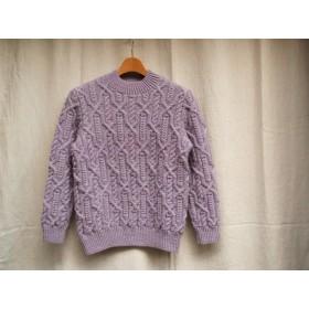 アランのプルオーバー11 薄紫色(送料無料)