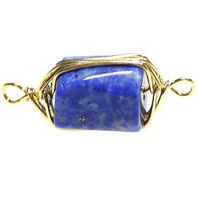 再販【1個】1点もの!両カン!ラピスラズリ Lapis Lazuli 約20mmゴールドチャーム、パーツ