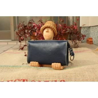 ジャバラの革 長財布 ネイビーの大きなレザー財布/LV紺色