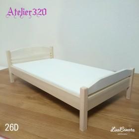 ベッド D タイプ 26cm シングルサイズ ミニチュア家具 ドールハウス