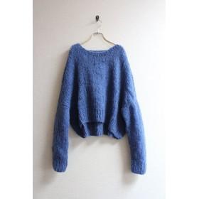 手編みモヘアショートセーター ブルー