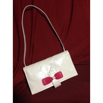 財布&iphone&カードケース ホワイトピンクリボン本革手縫い