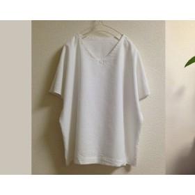 白|リネン100% Vネックざっくりプルオーバー