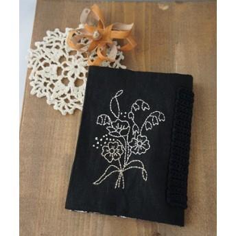 刺繍の文庫カバー (黒)