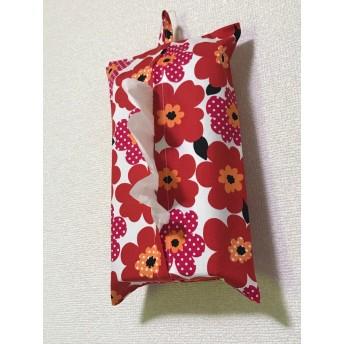 ボックスティッシュカバー赤花