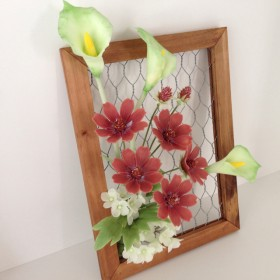 樹脂粘土の花*チョコレートコスモスとカラー*
