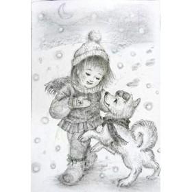 「雪ん子の唄」鉛筆 イラスト 原画