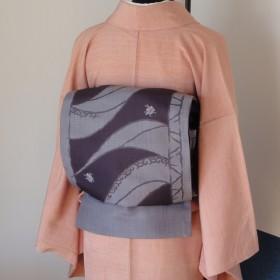 すぐに結べる「さくら造り帯」 薄紫色の袋帯の二重太鼓 D-75