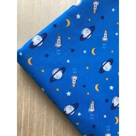 ※【布50×50】シーチング・mini宇宙・ブルー