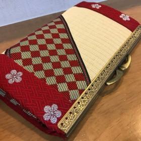 和風 畳がま口長財布 赤市松×赤梅 財布