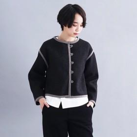 [マルイ] 【IKYU】スウェードタッチパイピングノーカラージャケット/メルローイキュー(merlotIKYU)
