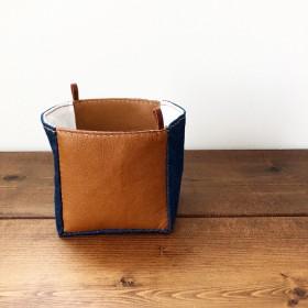 革と布のスクエアボックス(デニム×白キャンバス)