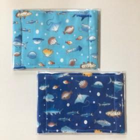 ガーゼ マスク 海の生き物 魚柄 2枚セット 子供用 給食 風邪 花粉