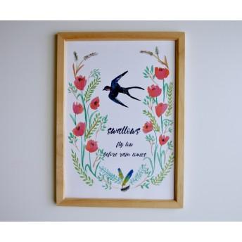 花とつばめ。インテリアポスター