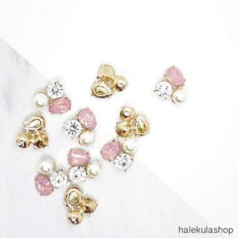 4個入り» パール ビジューパーツ ピンク 2#【ビーズ】【ラインストーン】【最安値】