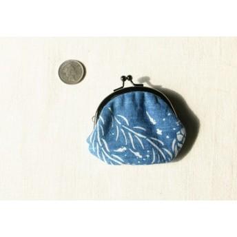 藍染 豆がま口「水中遊泳」