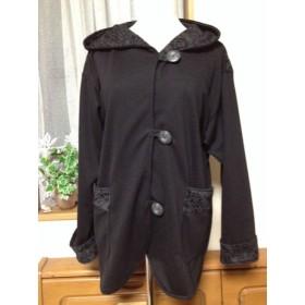 黒ジャージ織りニットのフード付ジャケット☆膨れローズ柄