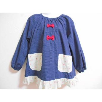 110cm♪ドット 赤リボン、YUWA裾フリル スモック♪