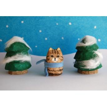 木彫り人形ねこ こげ茶トラ [MWF-134]