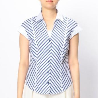 [マルイ]【セール】バイアスストライプ深V半袖シャツ/ナラカミーチェ(NARACAMICIE)