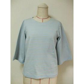 【セール品】後ろリボン2個付きラウンドネック7分丈袖のカットソー M~Lサイズ 薄いブルー×ベージュボーダー柄