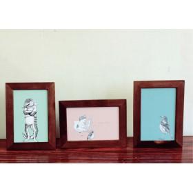 パステルカラーの動物ポストカード【アオジタトカゲ、猫&鳥、鳥】
