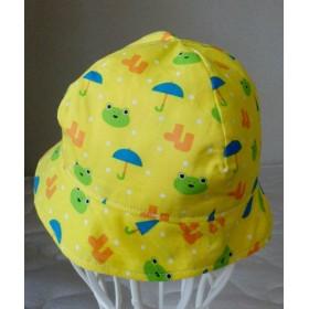 ベビー帽子 51㎝/1~2歳 カエル柄 黄色