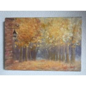 キャンパスに油絵原画・Autumn walking path(秋の散歩道)