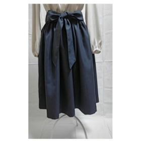 濃紺の上質なギャザースカート(ウエストリボン付き )