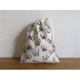 給食袋 コップ袋 巾着袋 ネコちゃん柄 カラフル系