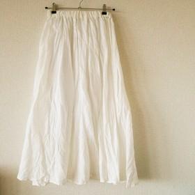 フレンチリネン☆サマーロングスカート(ホワイト)