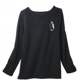 ペンギン レディース裏シャギーTシャツ 黒