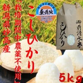 【栽培期間中農薬不使用・有機肥料100%使用】御前清水米 コシヒカリ5kg【無洗米】 (30年産 2018年)