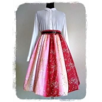バルーンスカート 和柄グラデーション赤