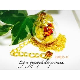 Eg.n gypsophila princessかすみ草とパールのガラスネックレス