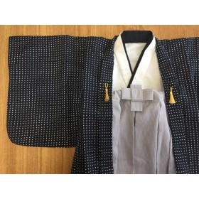 80cm 男の子 紺水玉羽織&グレー縞袴風ロングスカート 初節句、お正月、お誕生日、出産祝い、結婚式に