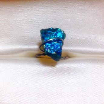 チャルコパイライト 原石 . ハンドメイド リング 指輪 天然石 チャルコパイライト ブルー パープル グリーン シルバー ゴールド の輝き