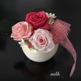 【受注製作】まん丸陶器のrosepreserved flower